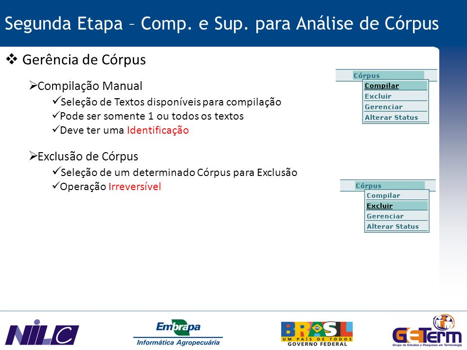 Segunda Etapa – Comp. e Sup. para Análise de Córpus