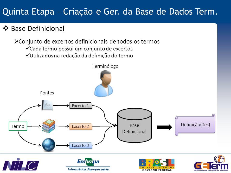 Quinta Etapa – Criação e Ger. da Base de Dados Term.