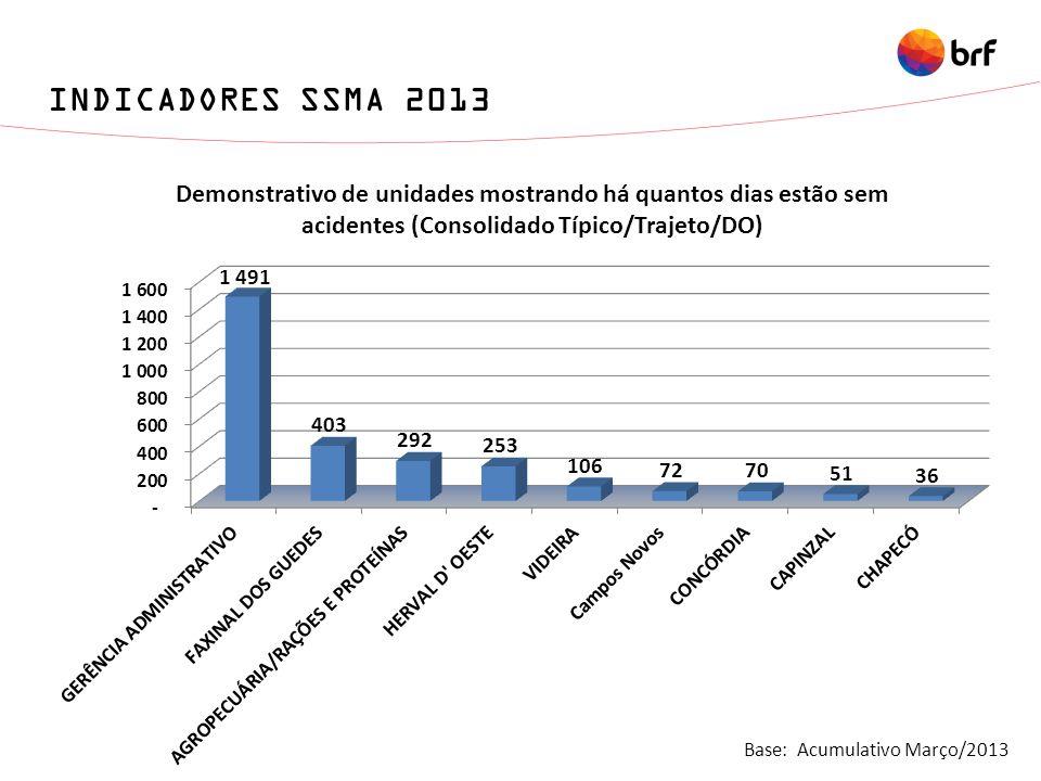 INDICADORES SSMA 2013 Base: Acumulativo Março/2013