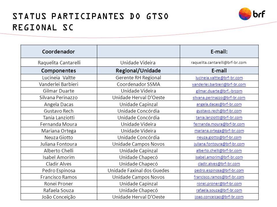 STATUS PARTICIPANTES DO GTSO REGIONAL SC
