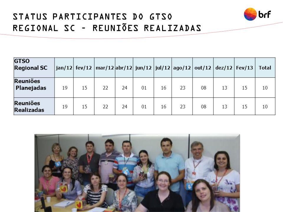 STATUS PARTICIPANTES DO GTSO REGIONAL SC – REUNIÕES REALIZADAS