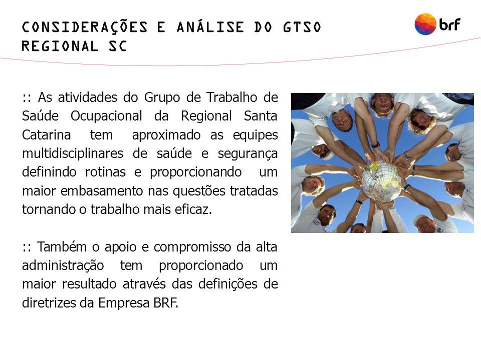 CONSIDERAÇÕES E ANÁLISE DO GTSO REGIONAL SC
