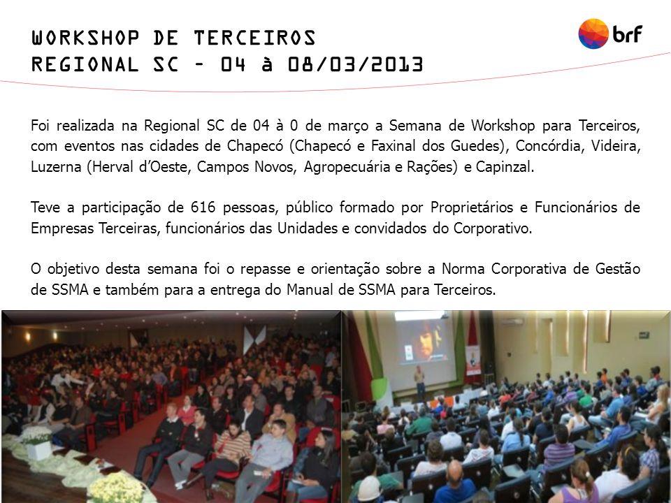 WORKSHOP DE TERCEIROS REGIONAL SC – 04 à 08/03/2013