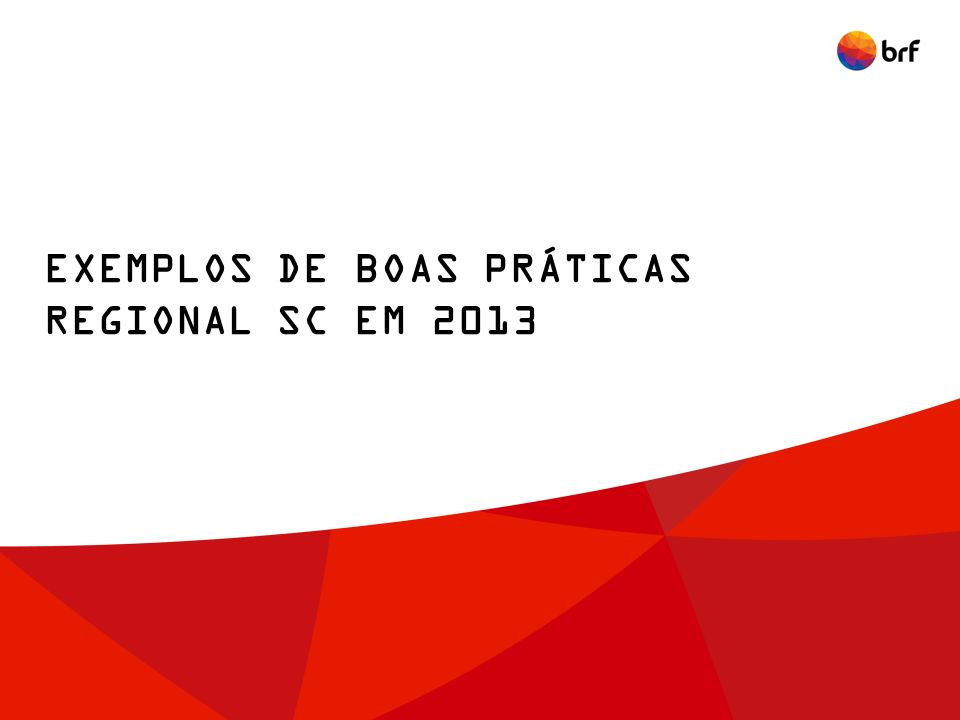 EXEMPLOS DE BOAS PRÁTICAS REGIONAL SC EM 2013