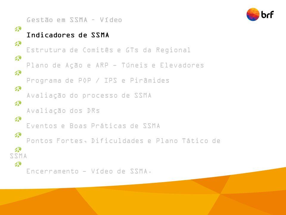 Gestão em SSMA – Vídeo Indicadores de SSMA. Estrutura de Comitês e GTs da Regional. Plano de Ação e ARP - Túneis e Elevadores.