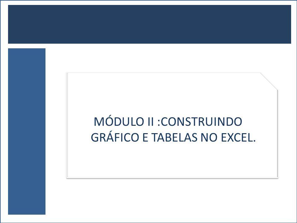 MÓDULO II :CONSTRUINDO GRÁFICO E TABELAS NO EXCEL.