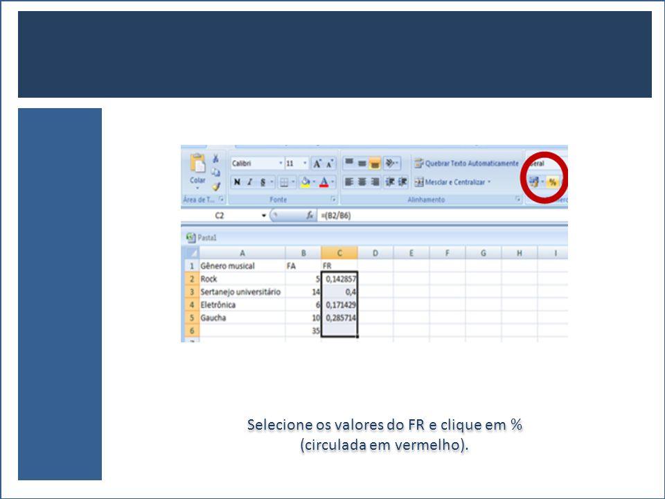 Selecione os valores do FR e clique em % (circulada em vermelho).
