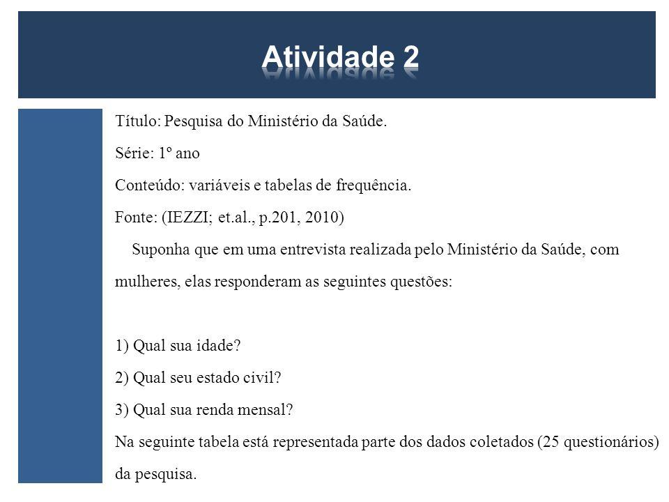 Atividade 2 Atividade 2 Título: Pesquisa do Ministério da Saúde.