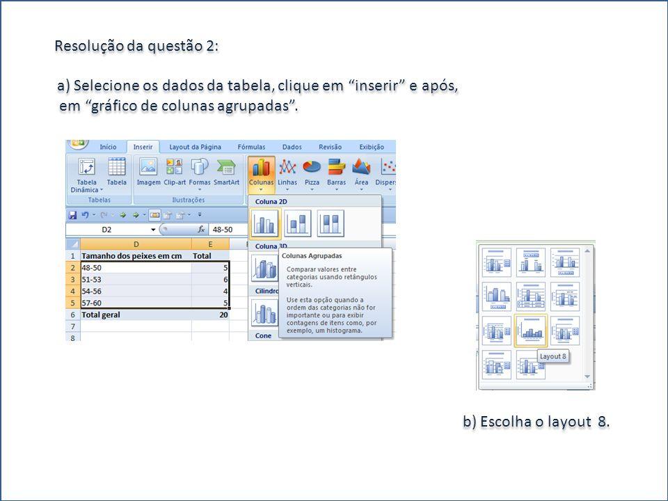 Resolução da questão 2: a) Selecione os dados da tabela, clique em inserir e após, em gráfico de colunas agrupadas .