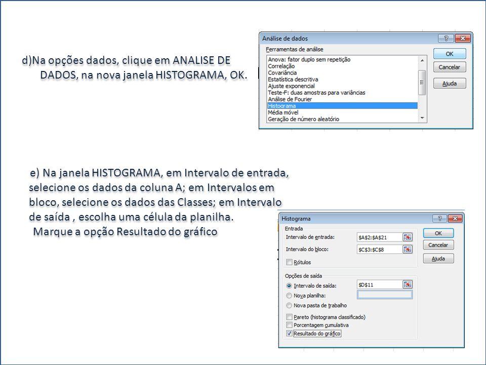 d)Na opções dados, clique em ANALISE DE DADOS, na nova janela HISTOGRAMA, OK.