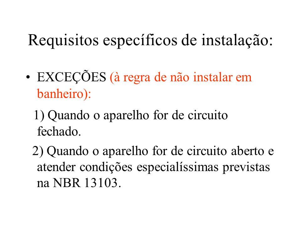 Requisitos específicos de instalação: