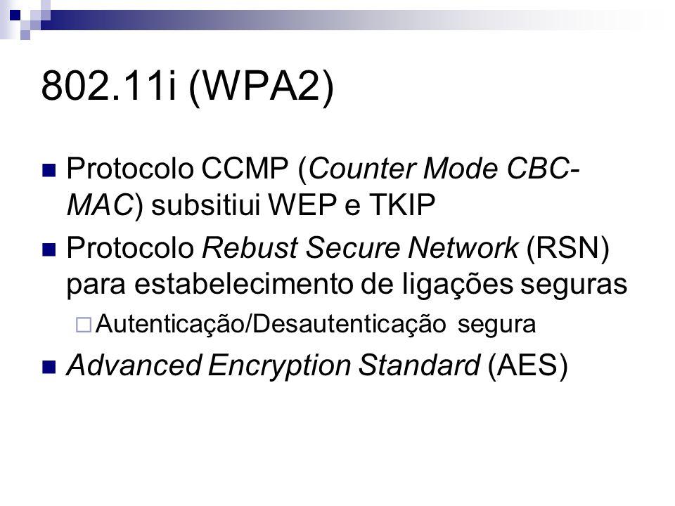 802.11i (WPA2) Protocolo CCMP (Counter Mode CBC-MAC) subsitiui WEP e TKIP.