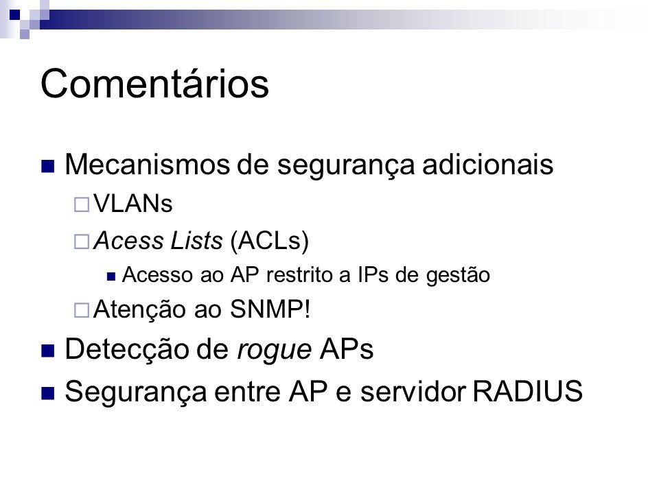 Comentários Mecanismos de segurança adicionais Detecção de rogue APs