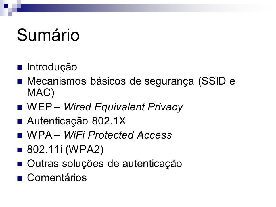 Sumário Introdução Mecanismos básicos de segurança (SSID e MAC)