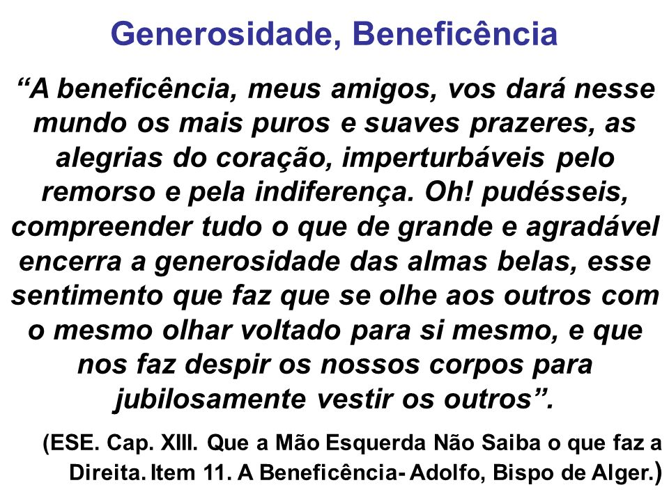 Generosidade, Beneficência