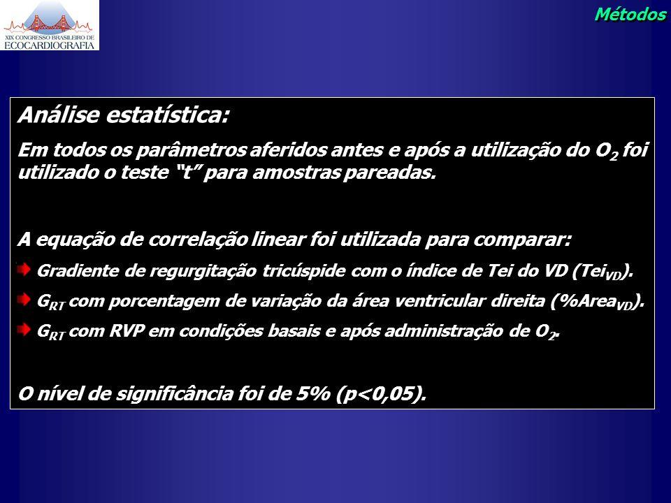 Métodos Análise estatística: Em todos os parâmetros aferidos antes e após a utilização do O2 foi utilizado o teste t para amostras pareadas.