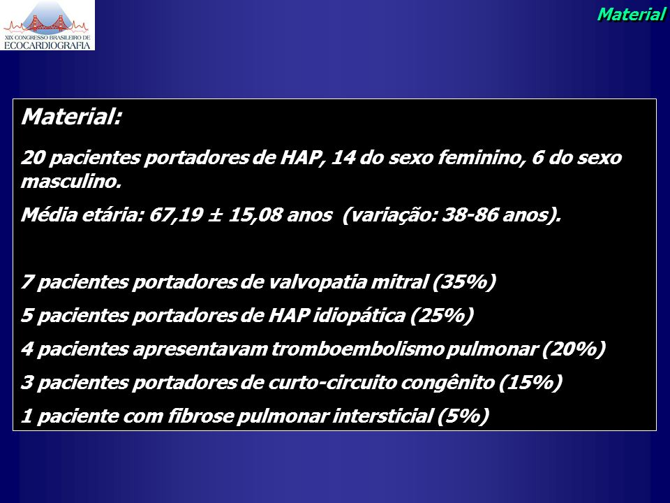 Material Material: 20 pacientes portadores de HAP, 14 do sexo feminino, 6 do sexo masculino.