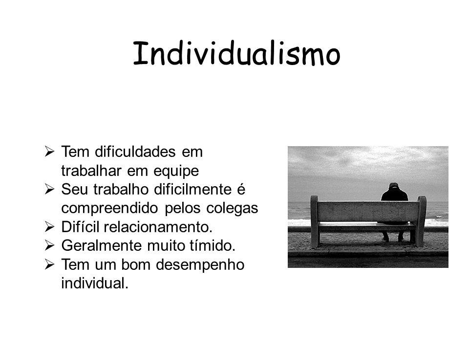 Individualismo Tem dificuldades em trabalhar em equipe