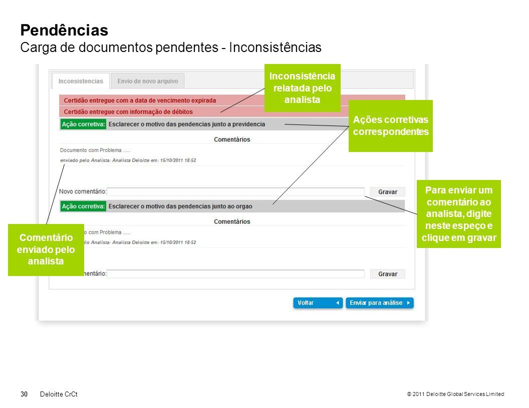 Pendências Carga de documentos pendentes - Inconsistências