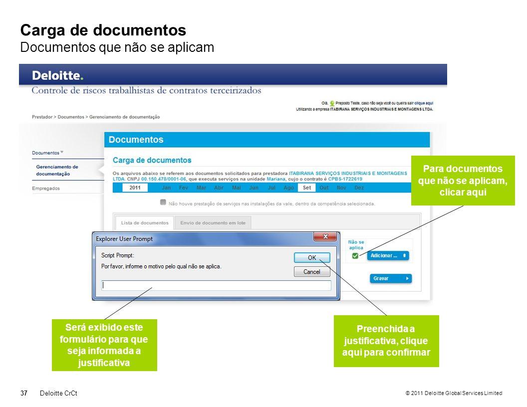 Carga de documentos Documentos que não se aplicam