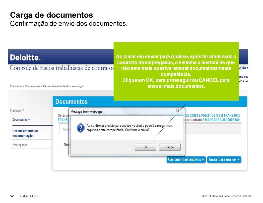 Carga de documentos Confirmação de envio dos documentos.