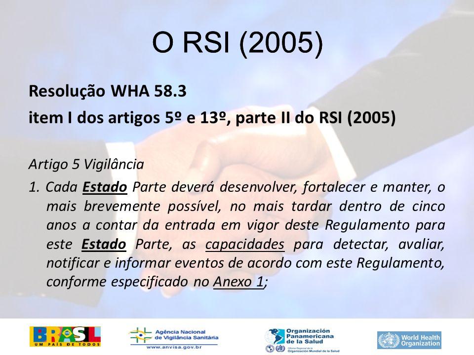 O RSI (2005) O RSI (2005) Resolução WHA 58.3