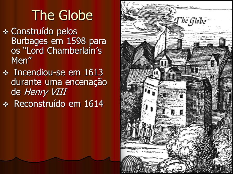 The Globe Construído pelos Burbages em 1598 para os Lord Chamberlain's Men Incendiou-se em 1613 durante uma encenação de Henry VIII.
