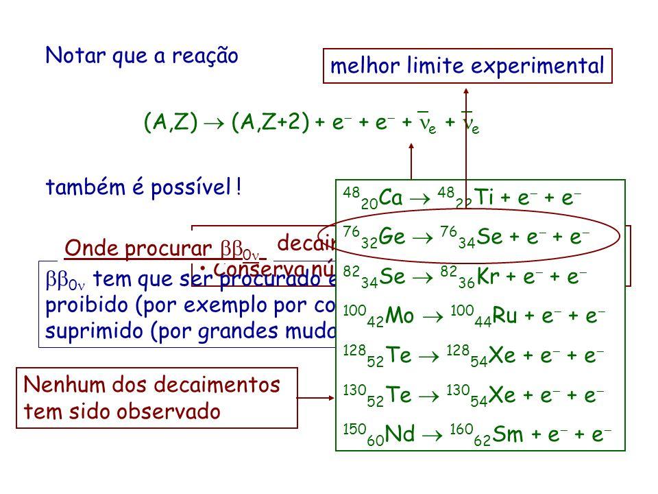 Notar que a reação (A,Z)  (A,Z+2) + e- + e- + ne + ne. também é possível ! melhor limite experimental.