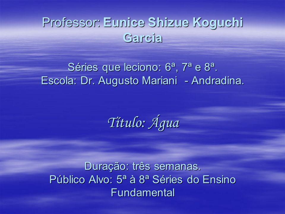Professor: Eunice Shizue Koguchi Garcia Séries que leciono: 6ª, 7ª e 8ª.