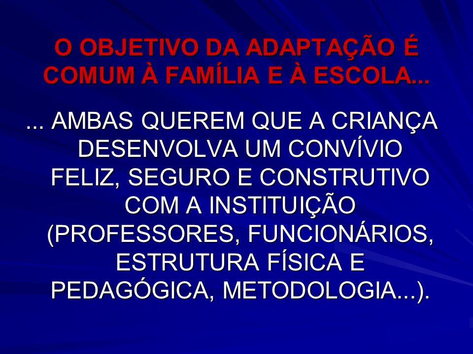 O OBJETIVO DA ADAPTAÇÃO É COMUM À FAMÍLIA E À ESCOLA...