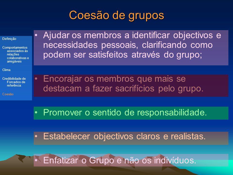 Coesão de grupos Ajudar os membros a identificar objectivos e necessidades pessoais, clarificando como podem ser satisfeitos através do grupo;