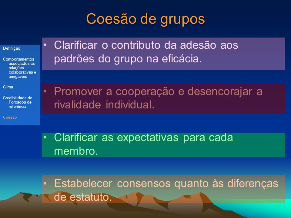 Coesão de grupos Clarificar o contributo da adesão aos padrões do grupo na eficácia. Promover a cooperação e desencorajar a rivalidade individual.