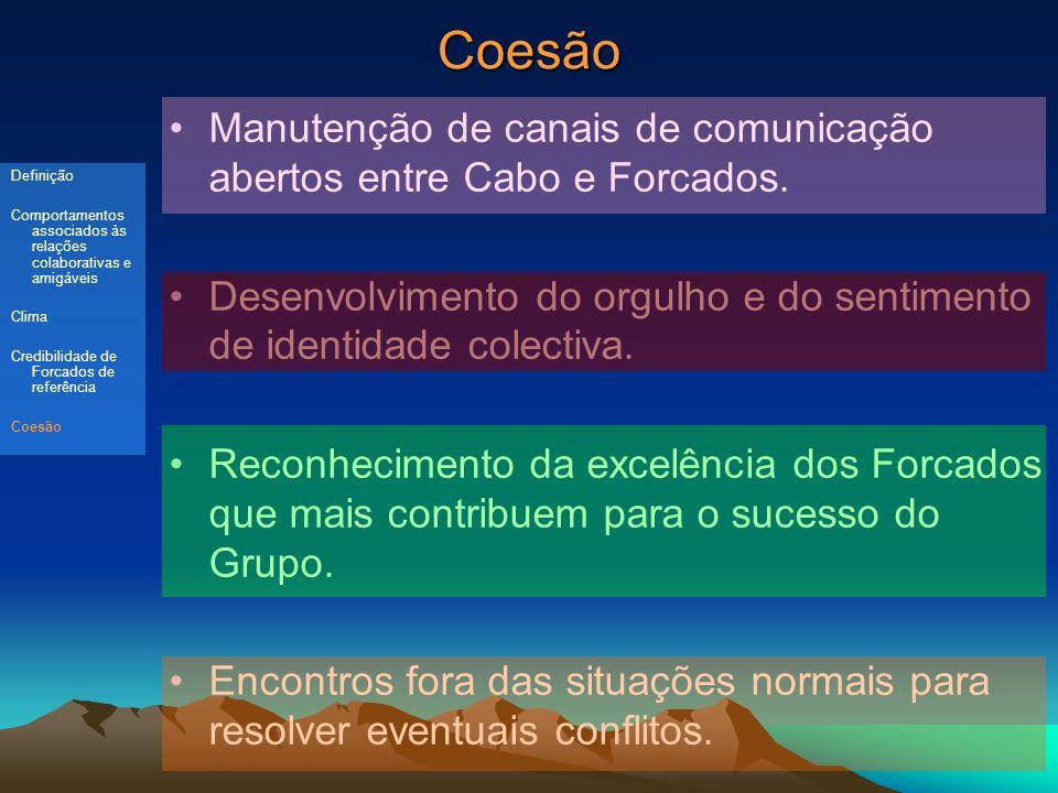 Coesão Manutenção de canais de comunicação abertos entre Cabo e Forcados. Desenvolvimento do orgulho e do sentimento de identidade colectiva.