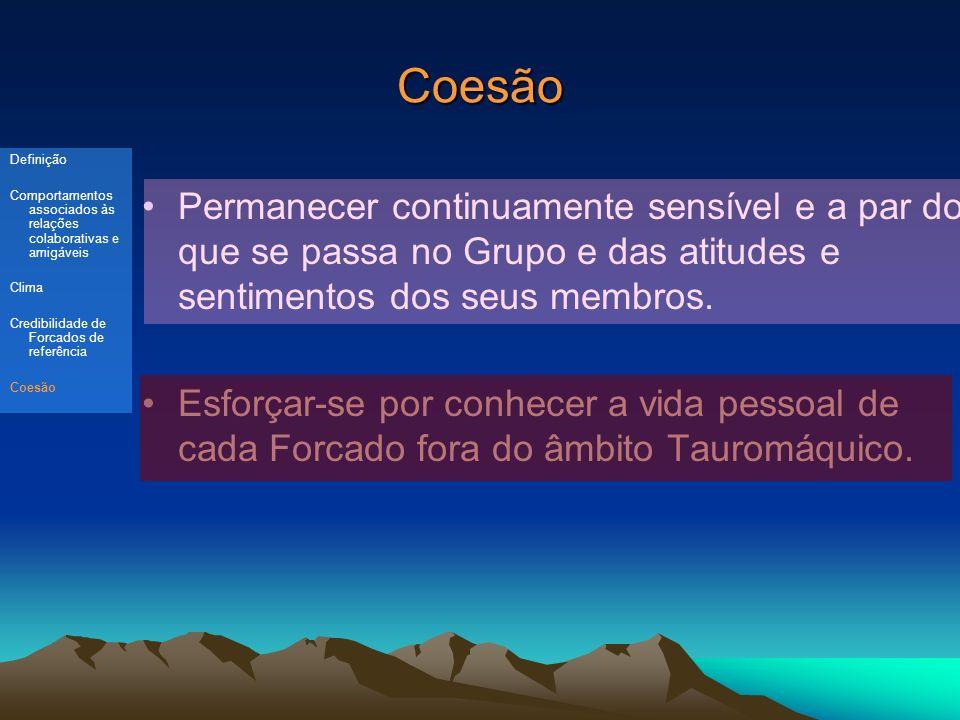 Coesão Permanecer continuamente sensível e a par do que se passa no Grupo e das atitudes e sentimentos dos seus membros.
