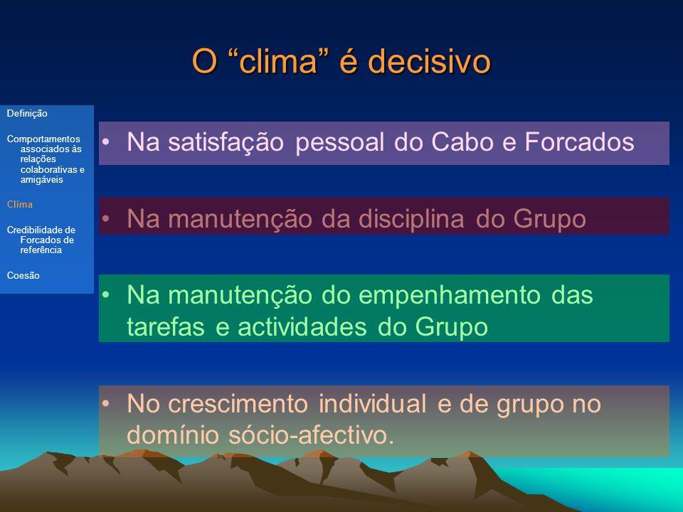O clima é decisivo Na satisfação pessoal do Cabo e Forcados