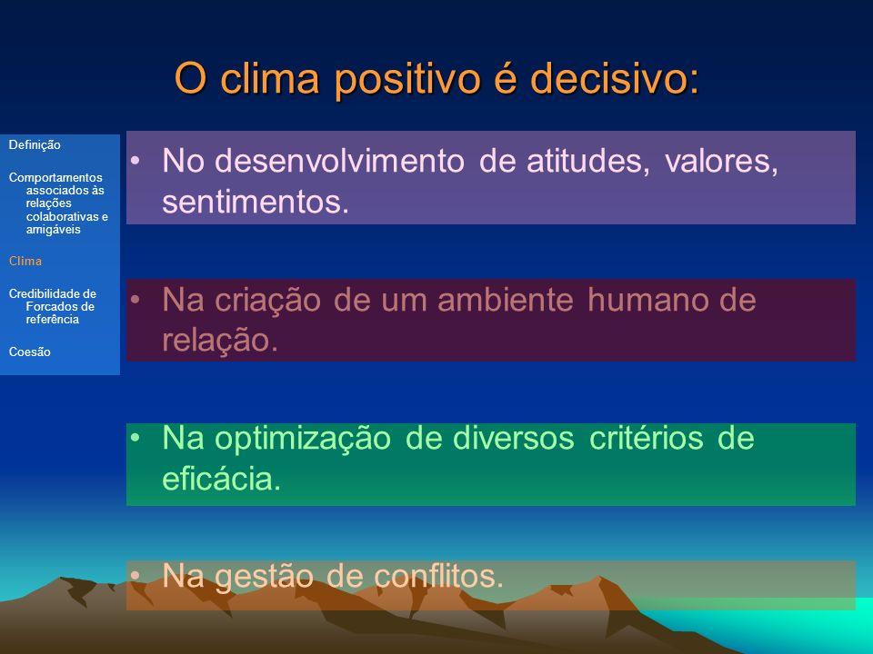 O clima positivo é decisivo: