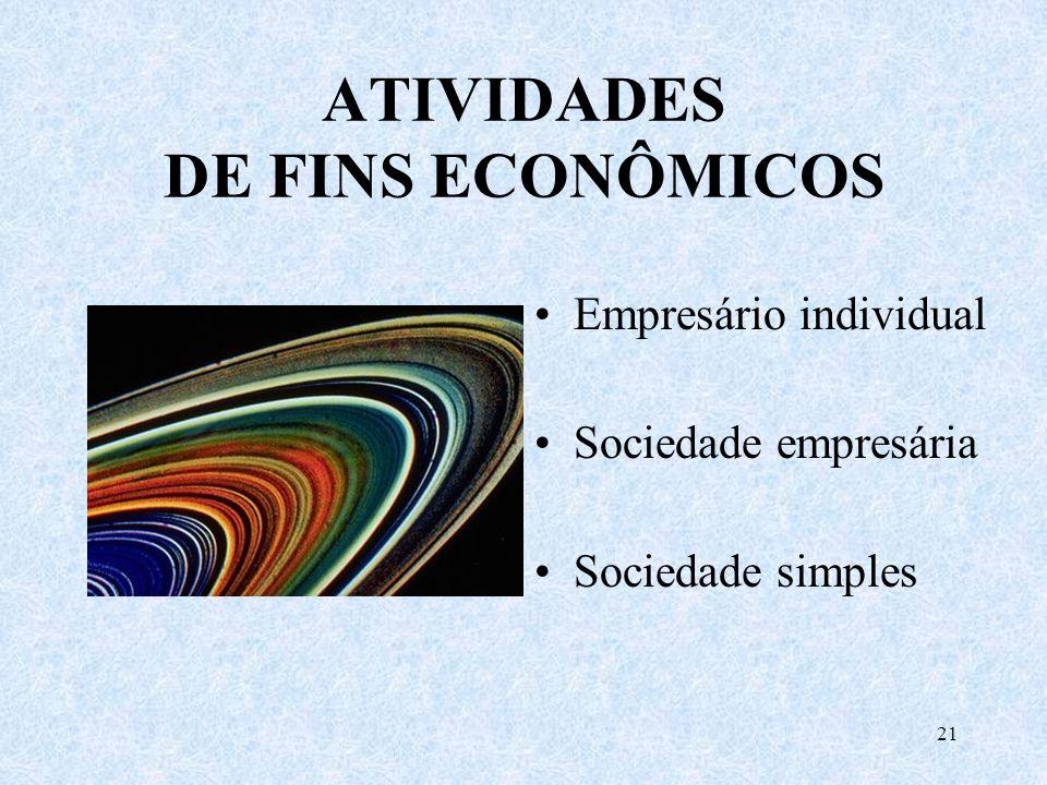 ATIVIDADES DE FINS ECONÔMICOS