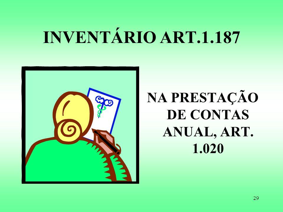 NA PRESTAÇÃO DE CONTAS ANUAL, ART. 1.020