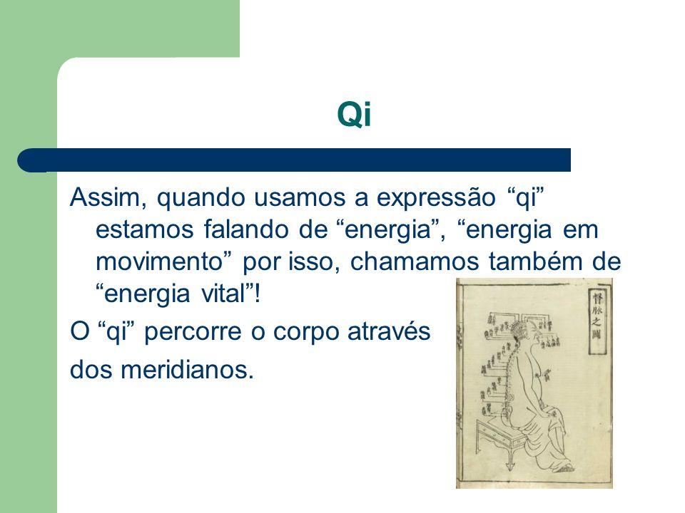 Qi Assim, quando usamos a expressão qi estamos falando de energia , energia em movimento por isso, chamamos também de energia vital !