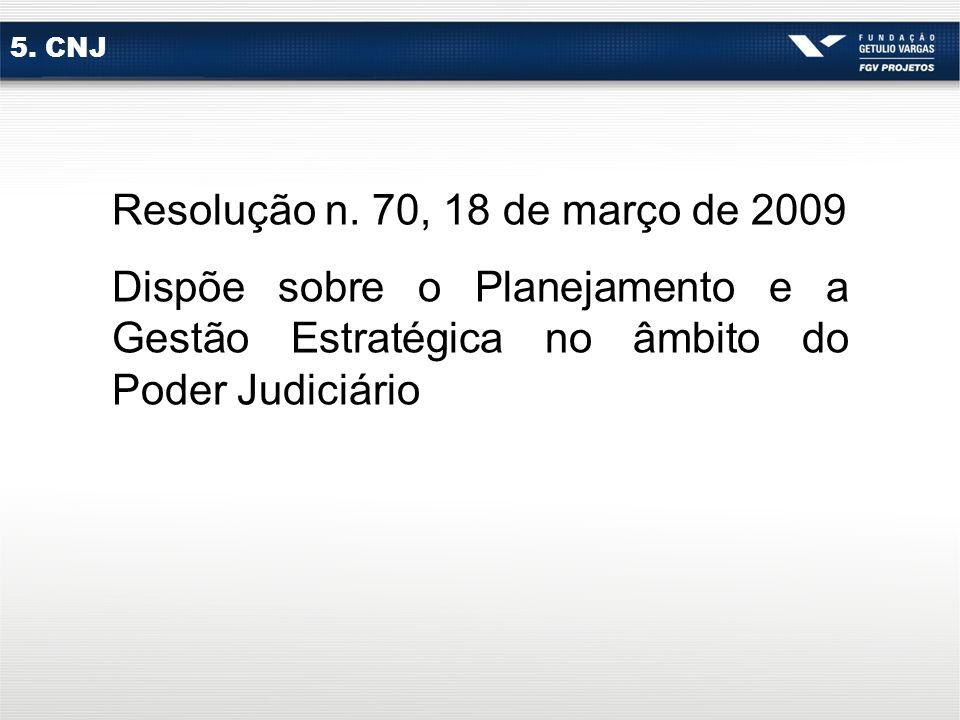 5. CNJ Resolução n. 70, 18 de março de 2009.