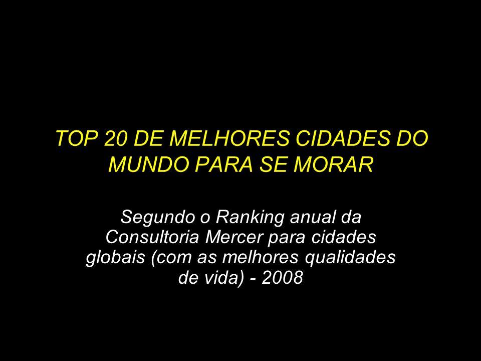 TOP 20 DE MELHORES CIDADES DO MUNDO PARA SE MORAR