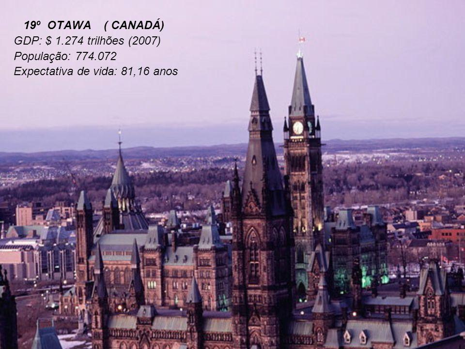19º OTAWA ( CANADÁ) GDP: $ 1.274 trilhões (2007) População: 774.072.