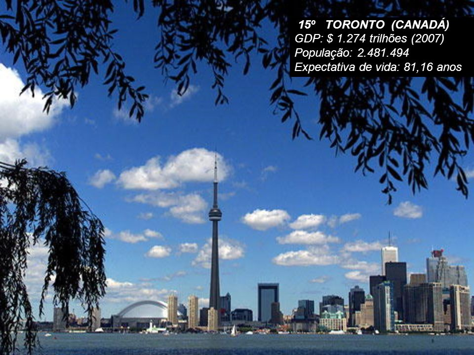 15º TORONTO (CANADÁ) GDP: $ 1.274 trilhões (2007) População: 2.481.494.