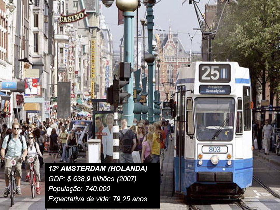 13º AMSTERDAM (HOLANDA) GDP: $ 638,9 bilhões (2007) População: 740.000.
