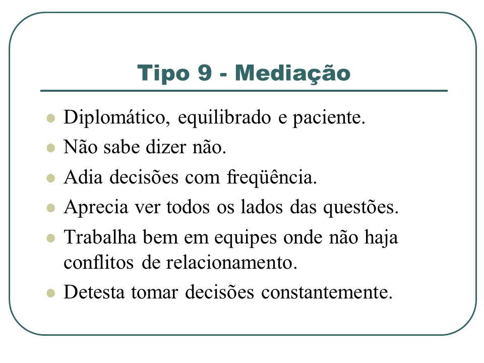 Tipo 9 - Mediação Diplomático, equilibrado e paciente.