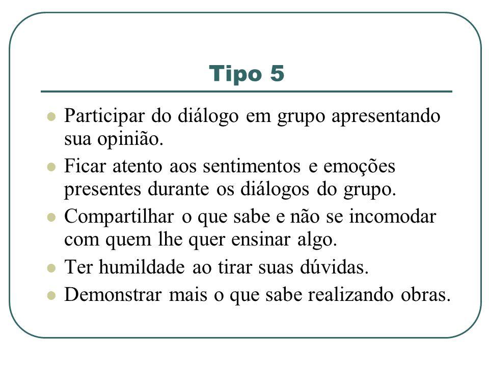 Tipo 5 Participar do diálogo em grupo apresentando sua opinião.