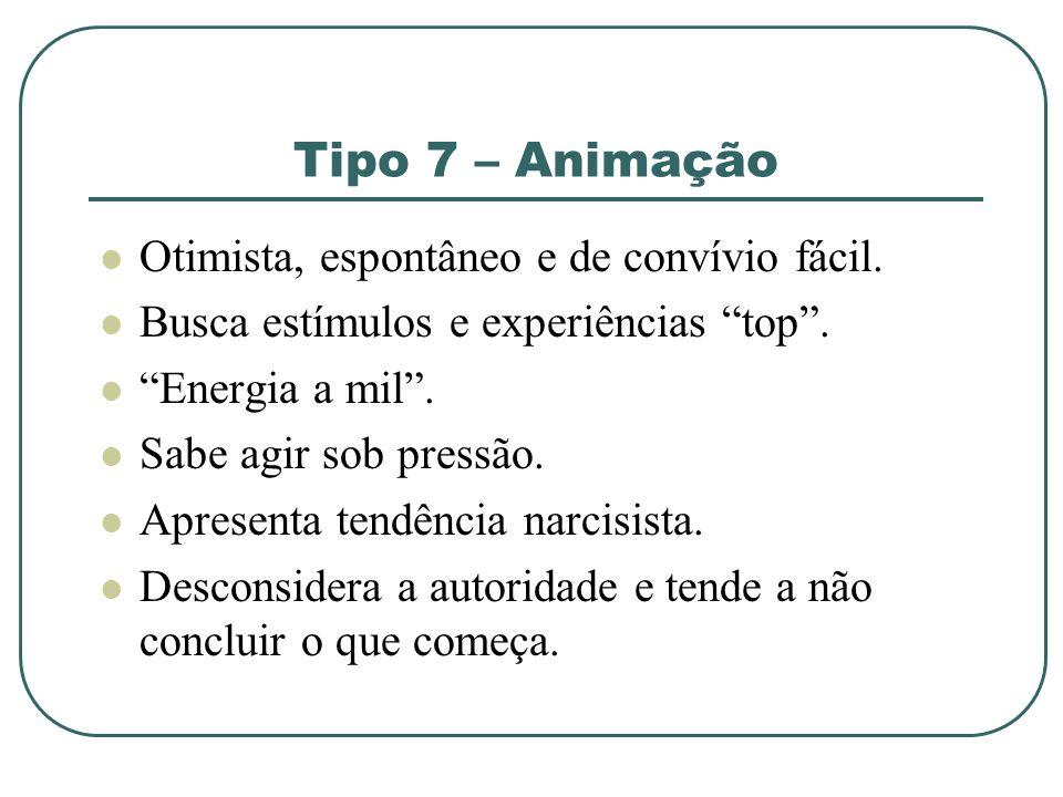 Tipo 7 – Animação Otimista, espontâneo e de convívio fácil.