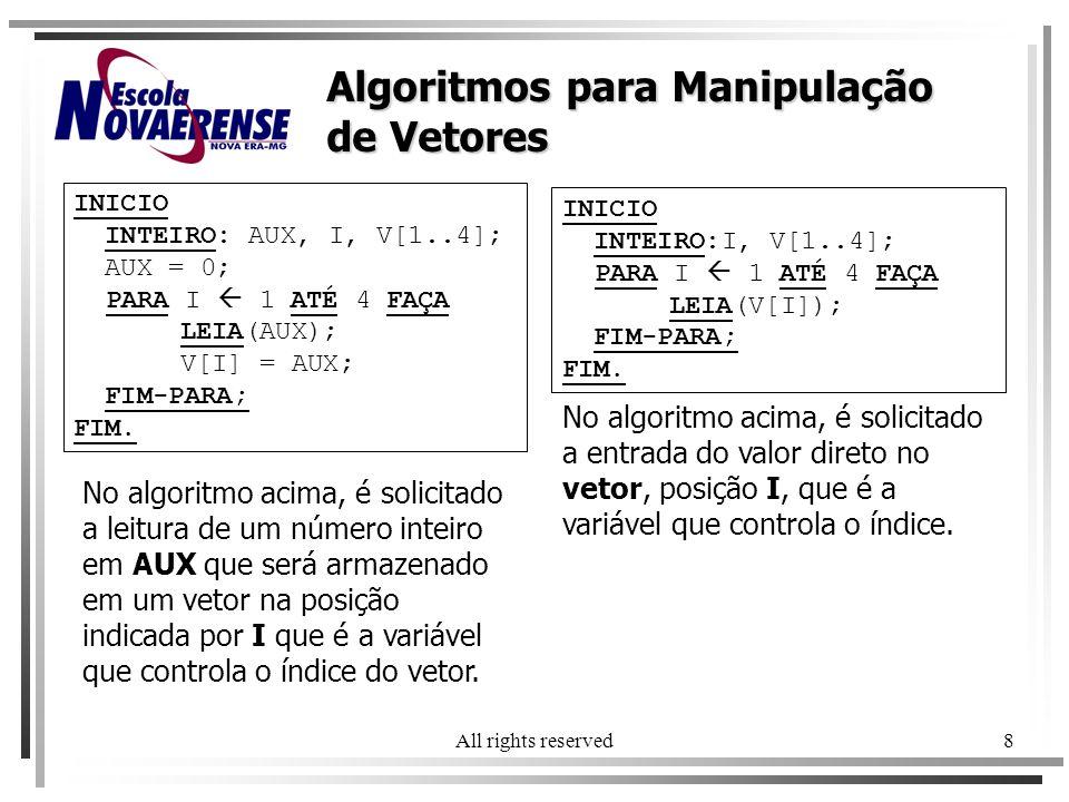 Algoritmos para Manipulação de Vetores