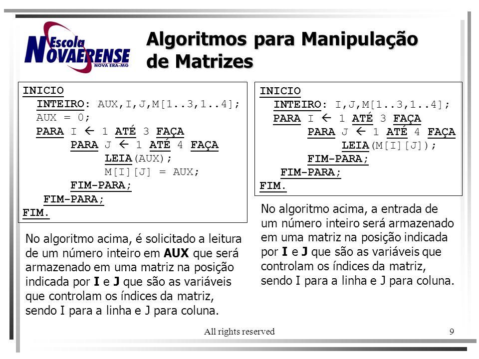 Algoritmos para Manipulação de Matrizes
