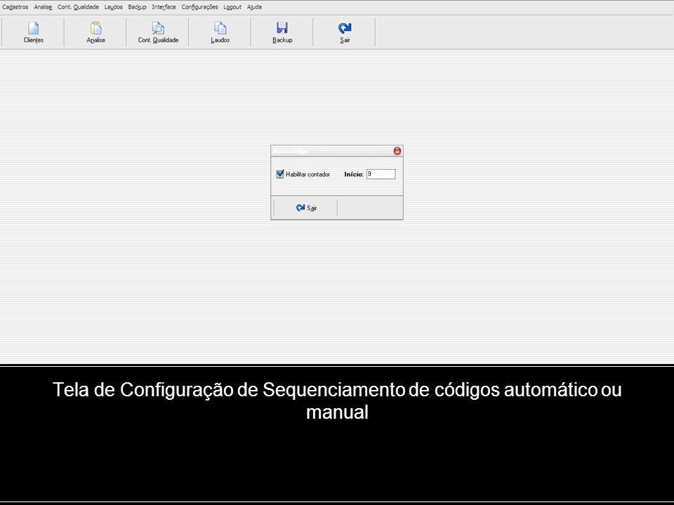 Tela de Configuração de Sequenciamento de códigos automático ou manual